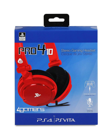 Headset 4Gamers PRO4-10 Stereo Gaming Ακουστικά Wired Red - PS4 / PS Vita - Κόκκινο