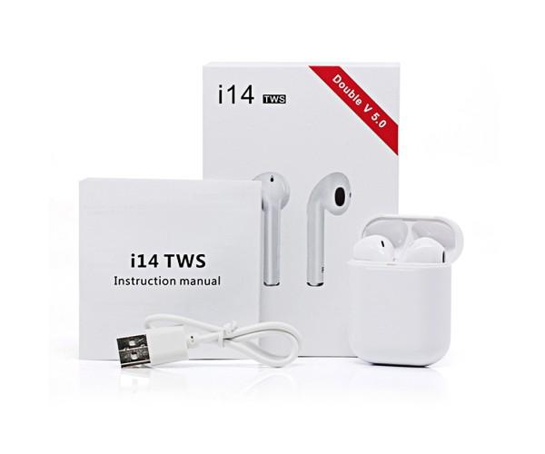 Ασύρματα Ακουστικά Bluetooth 5.0 i14 TWS Touch Control Mini Earbuds - Λευκό