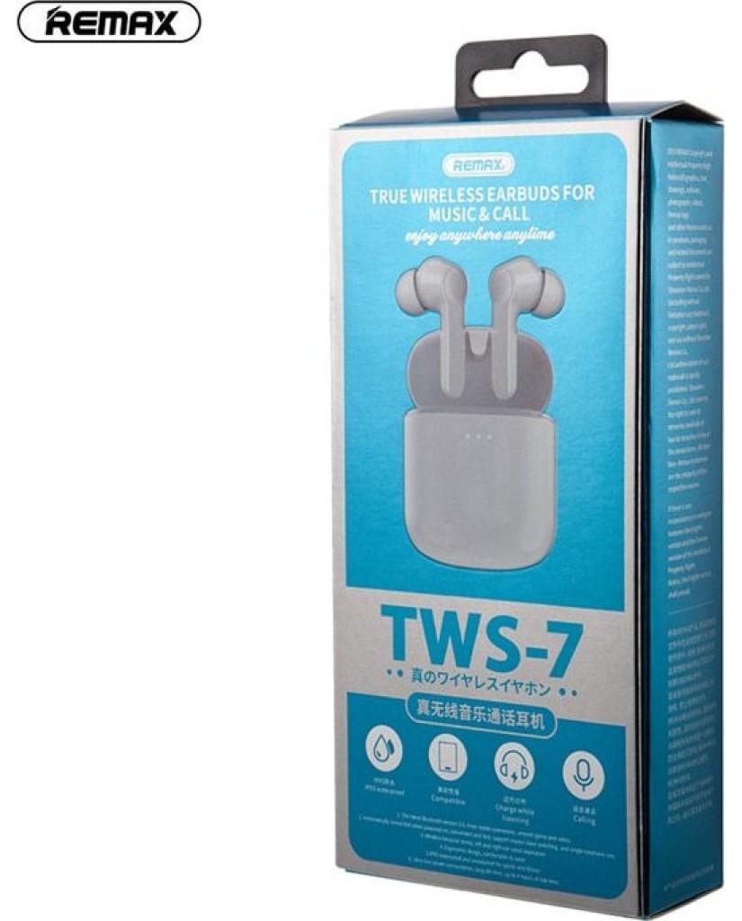 Ασύρματα Ακουστικά Bluetooth V5.0 Remax TWS-7 Earphone Stereo Touch Control Earbuds Για όλα τα Κινητά + Iphone - Λευκό