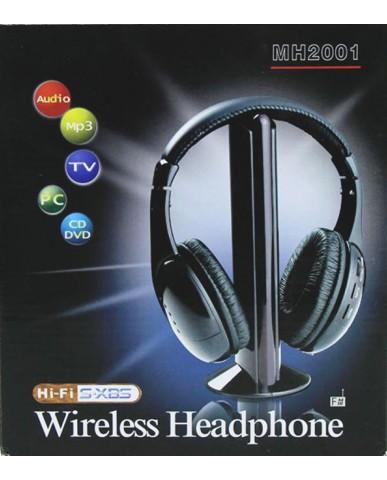 Ασύρματα Ακουστικά 5 σε 1 με FM MH2001 Συμβατά με TV, Laptop, CD, DVD, FM Radio, Net Chat, Baby Monitor κ.ά.