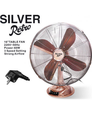 Silver Retro 1771 Επιτραπέζιος Ανεμιστήρας 50W Μεταλλικός 3 Ταχυτήτων - Ροζ Χρυσό / Ασημί