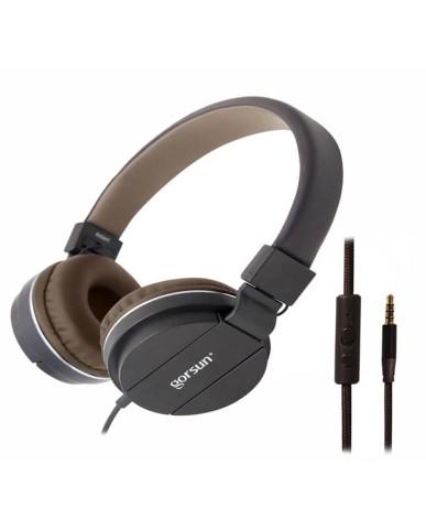 Ακουστικά με Μικρόφωνο GORSUN GS-779 Συμβατά με MP3/PC/Tablet/Laptop/iPad/iPod/Κινητά Τηλέφωνα - Καφέ
