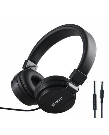 Ακουστικά με Μικρόφωνο GORSUN GS-779 Συμβατά με MP3/PC/Tablet/Laptop/iPad/iPod/Κινητά Τηλέφωνα - Μαύρο