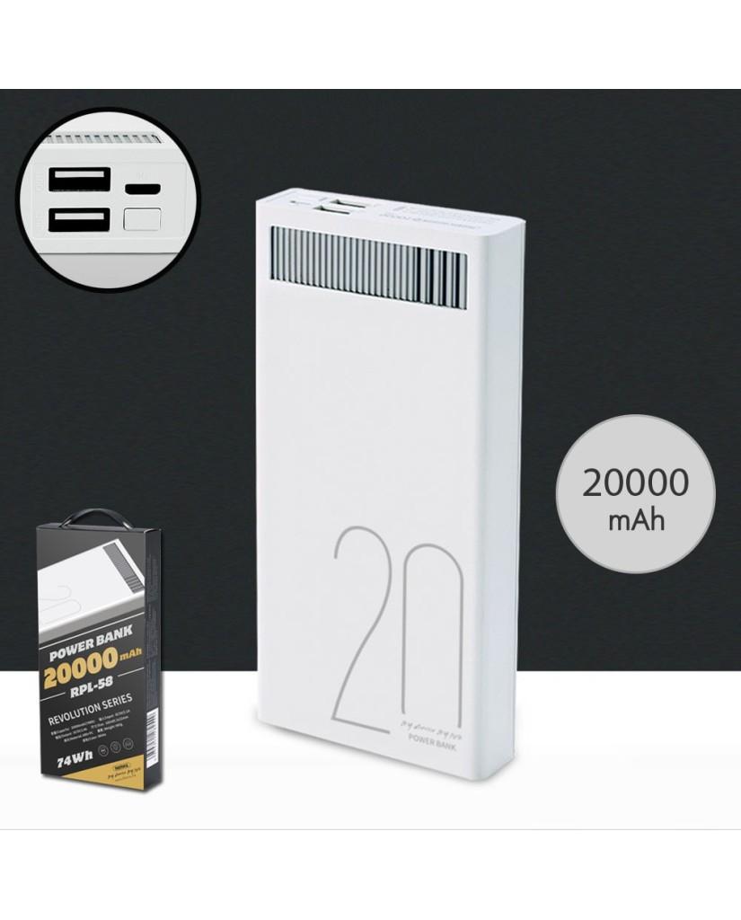 POWER BANK REMAX RPL-58 20000MAH - ΛΕΥΚΟ