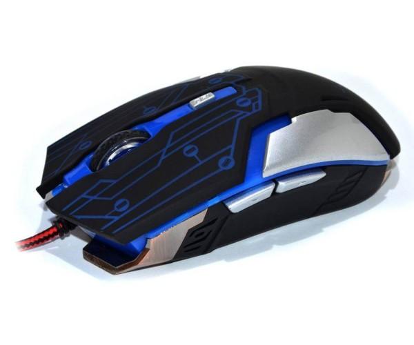 Ενσύρματο Ποντίκι Με Φωτισμό Και Μεταλλική Βάση R.HORSE ROBOCOP FC-1800 USB 2.0 WIRED LED GAMING MOUSE - Μαύρο / Μπλε