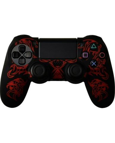 Silicone Case Κάλυμμα Σιλικόνης για Χειριστήρια PS4 Dragon Μαύρο/Κόκκινο Χρώμα