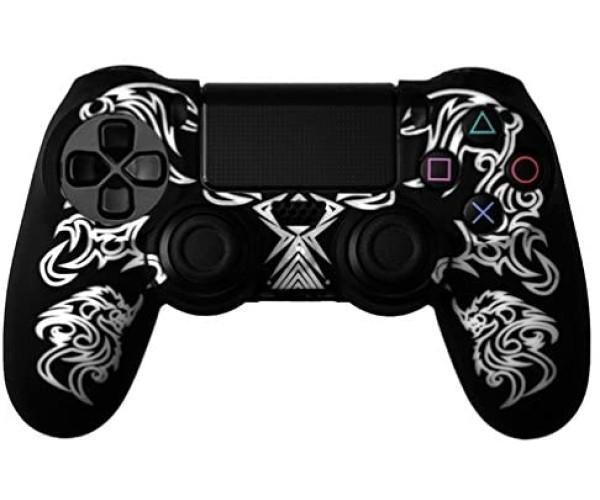 Silicone Case Κάλυμμα Σιλικόνης για Χειριστήρια PS4 Dragon Μαύρο/Λευκό Χρώμα