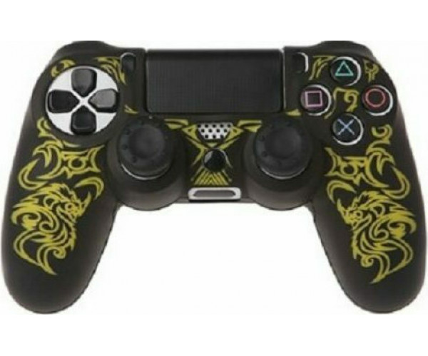 Silicone Case Κάλυμμα Σιλικόνης για Χειριστήρια PS4 Dragon Μαύρο/Κίτρινο Χρώμα