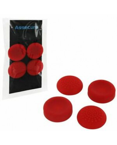 SILICONE THUMB GRIPS CONCAVE & CONVEX ASSECURE ΓΙΑ ΧΕΙΡΙΣΤΗΡΙΑ PS4/PS3/PS2/XBOX ONE/XBOX 360/SWITCH - ΚΟΚΚΙΝΟ