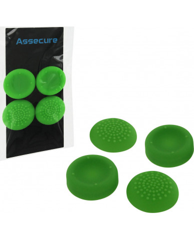 SILICONE THUMB GRIPS CONCAVE & CONVEX ASSECURE ΓΙΑ ΧΕΙΡΙΣΤΗΡΙΑ PS4/PS3/PS2/XBOX ONE/XBOX 360/SWITCH - ΠΡΑΣΙΝO