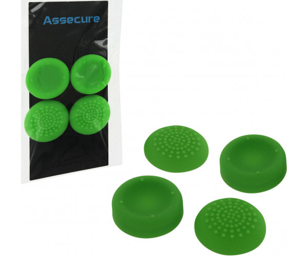 SILICONE THUMB GRIPS CONCAVE & CONVEX ASSECURE ΓΙΑ ΧΕΙΡΙΣΤΗΡΙΑ PS4 - ΠΡΑΣΙΝO