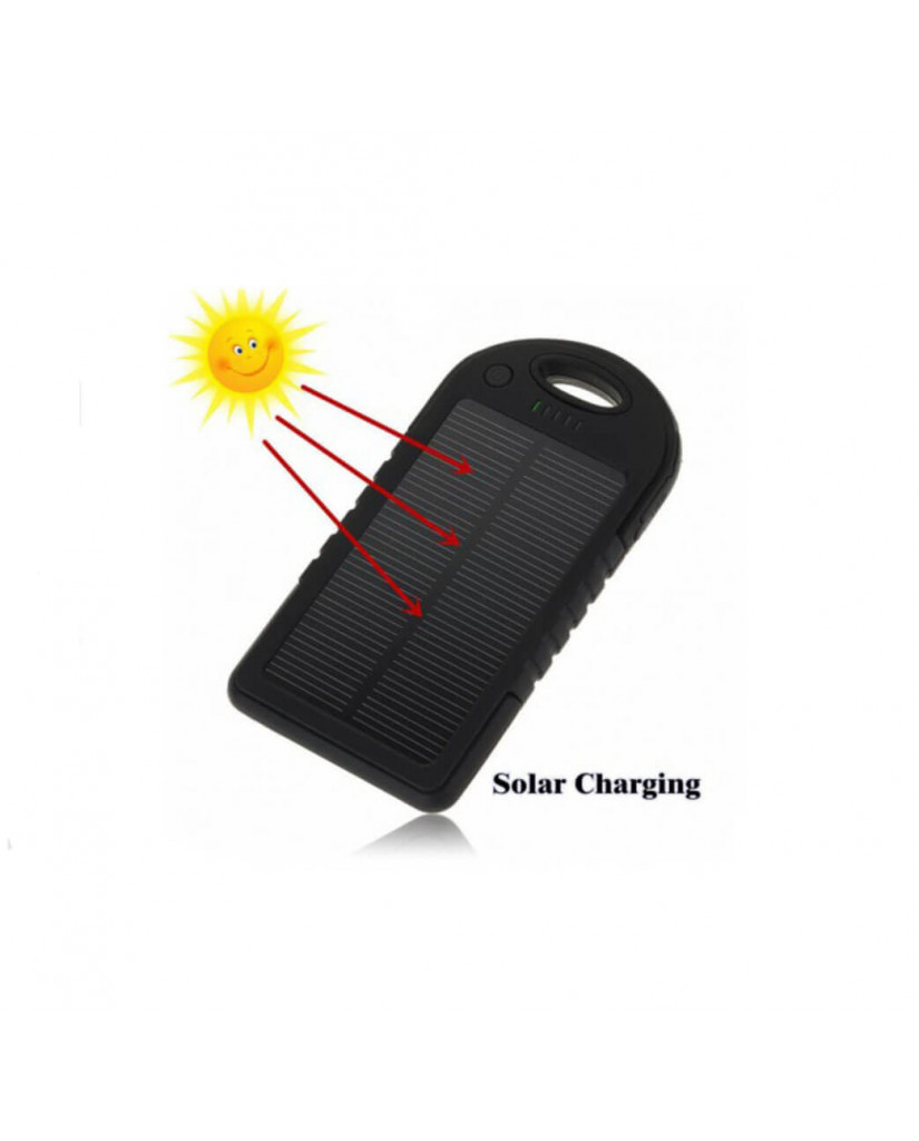 Solar Charger Powerbank - Αδιάβροχος Ηλιακός Φορτιστής 25000mAh με Επένδυση από Καουτσούκ - Μαύρο