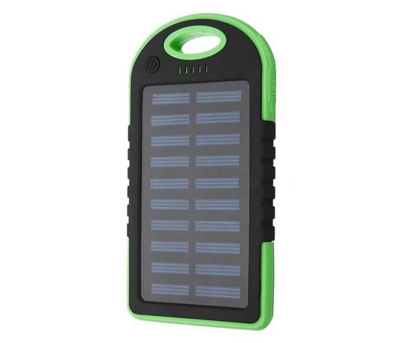 Solar Charger Powerbank - Αδιάβροχος Ηλιακός Φορτιστής 25000mAh με Επένδυση από Καουτσούκ - Πράσινο