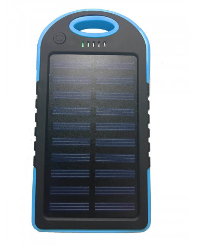 Solar Charger Powerbank - Αδιάβροχος Ηλιακός Φορτιστής 25000mAh με Επένδυση από Καουτσούκ - Μπλε