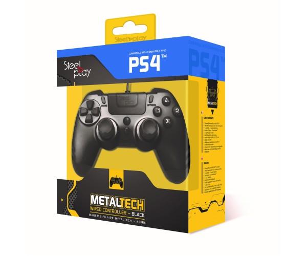 Steelplay Metal Tech Wired Controller - Χειριστήριο PS4/PS3/PC - Μαύρο