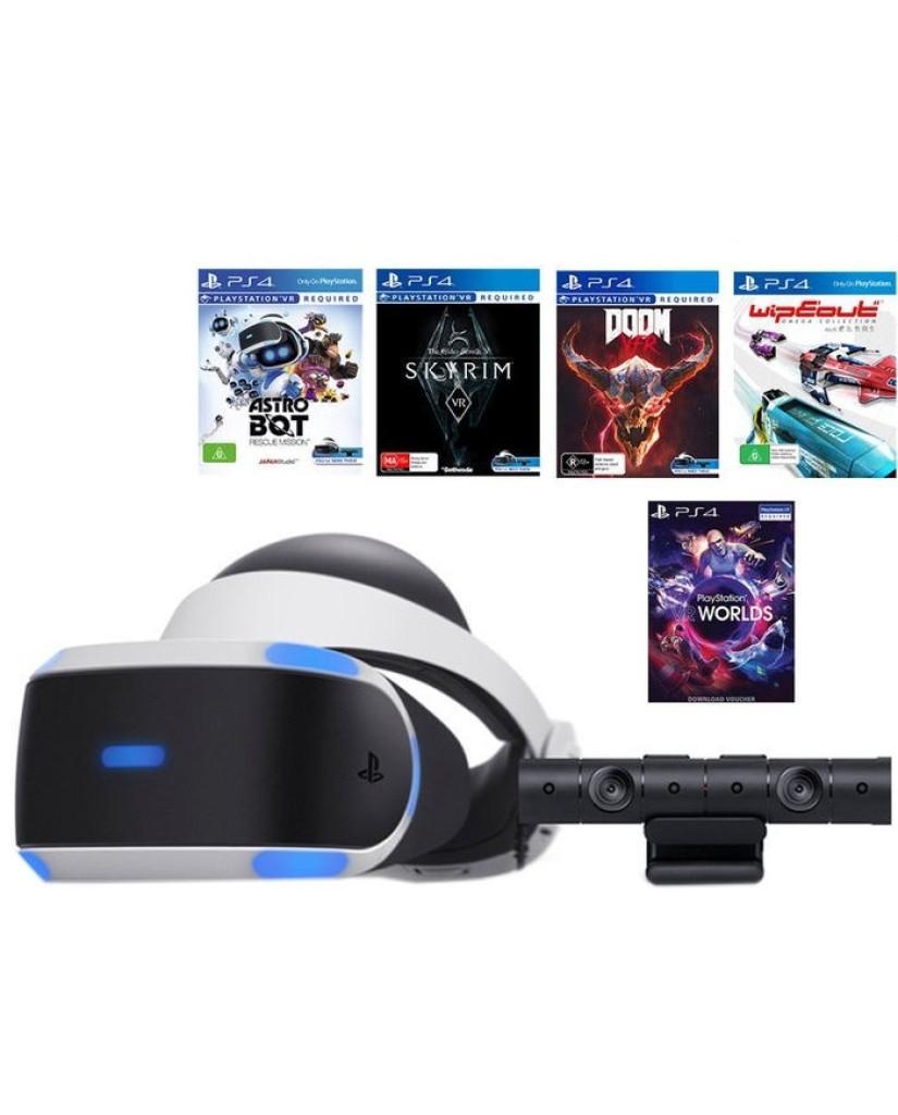 SONY PLAYSTASION VR MEGA PACK HEADSET & CAMERA V2 + VR WORLDS & 4 GAMES