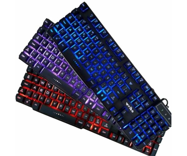 Ενσύρματο Πληκτρολόγιο με LED 3 χρωμάτων Αδιάβροχο Backlight WB-538 Gaming