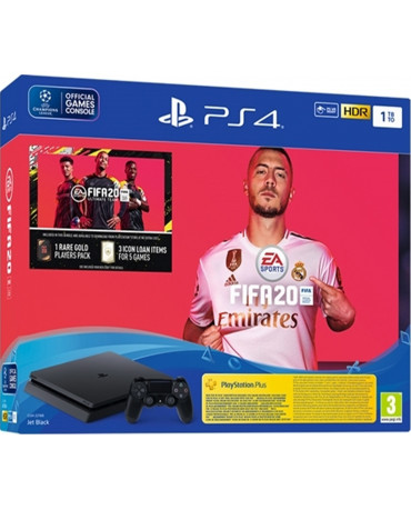 Sony PlayStation 4 - 1TB Slim Black + FIFA 20 + FIFA 20 VOUCHER CODE + Δώρο Playstation Plus 14 Days