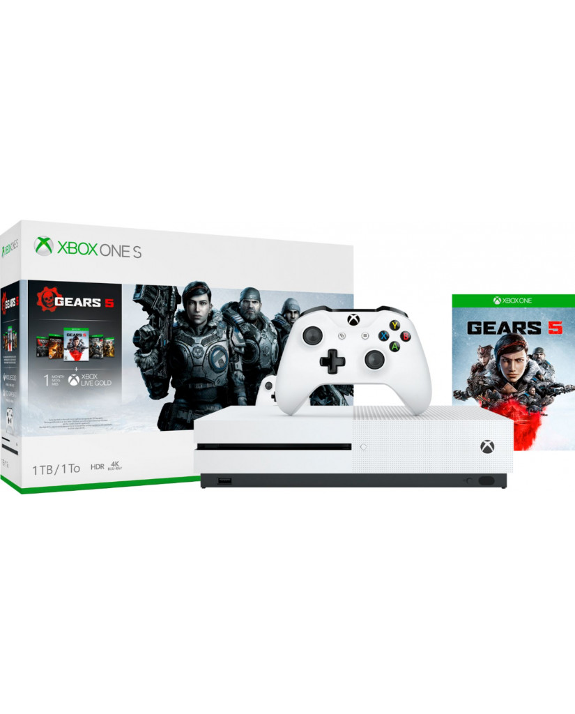 MICROSOFT XBOX ONE S ΚΟΝΣΟΛΑ 1TB GEARS OF WAR 5 CONSOLE BUNDLE ΠΕΡΙΛΑΜΒΑΝΕΙ GEARS OF WAR ULTIMATE 2, 3, 4, 5 DLC - ΛΕΥΚΟ