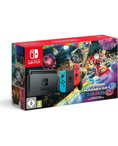 NINTENDO SWITCH CONSOLE RED/BLUE JOY-CON - MARIO KART 8 DELUXE BUNDLE