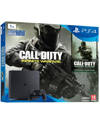 Sony PlayStation 4 - 1TB Slim Black + Call Of Duty Infinite Warfare + Call Of Duty Modern Warfare Remastered + Tales of Zestiria + Δώρο Θήκη Σιλικόνης PS4 Χειριστηρίου