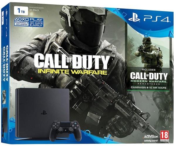 Sony PlayStation 4 - 1TB Slim Black + Call Of Duty Infinite Warfare + Call Of Duty Modern Warfare Remastered + Tales of Zestiria + Δώρο Θήκη Σιλικόνης PS4 Χειριστηρίου