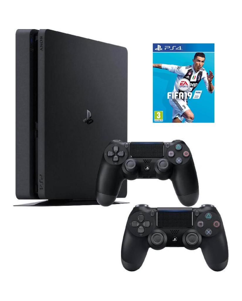 Sony PlayStation 4 - 1TB Slim Black + FIFA 19 + 2 Χειριστήρια DualShock 4 + PS PLUS VOUCHER