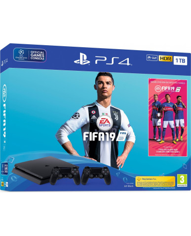 Sony PlayStation 4 - 1TB Slim Black + FIFA 19 + 2 Χειριστήρια DualShock 4 + PS PLUS VOUCHER