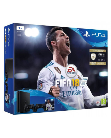 Sony PlayStation 4 - 1TB Slim Black + FIFA 18 Ultimate Team Icons + 2 Χειριστήρια DualShock 4 + Δώρο Playstation Plus 14 Days