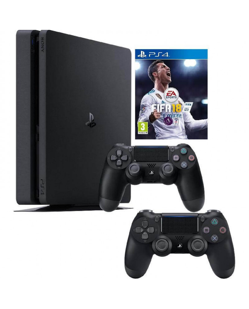 Sony PlayStation 4 - 1TB Slim Black + FIFA 18 Ultimate Team Icons + FIFA World Cup Update + 2 Χειριστήρια DualShock 4