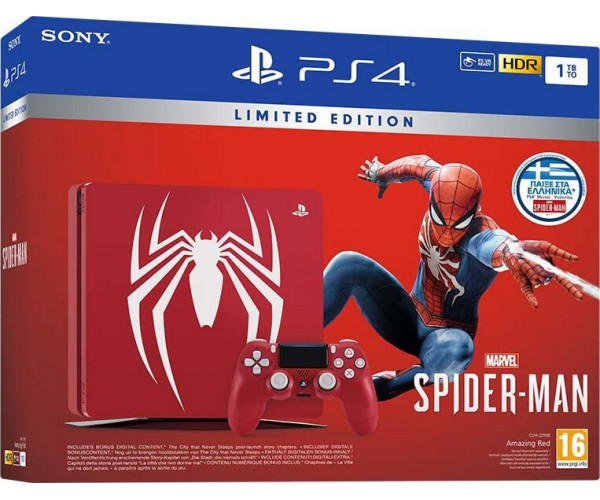 SONY PLAYSTATION 4 SLIM 1TB + MARVEL'S SPIDER-MAN LIMITED EDITION