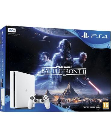 Sony PlayStation 4 - 500GB Slim White + Star Wars Battlefront II + The Last Jedi Heroes DLC