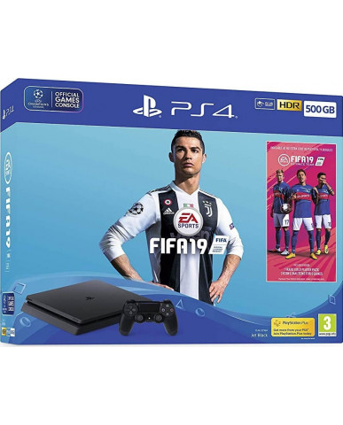 SONY PLAYSTATION 4 - 500GB SLIM BLACK + FIFA 19 + PS PLUS VOUCHER CODE