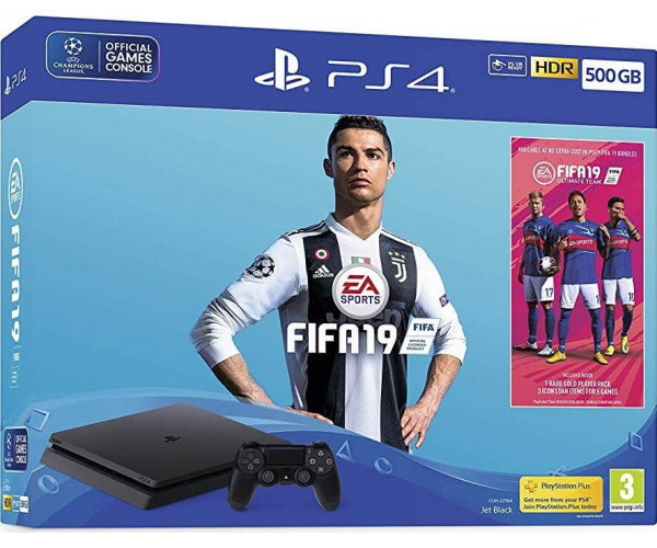 SONY PLAYSTATION 4 - 500GB SLIM BLACK + FIFA 19 + PS PLUS VOUCHER CODE