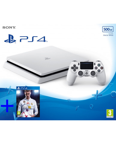 Sony PlayStation 4 - 500GB Slim Glasier Λευκό + FIFA 18
