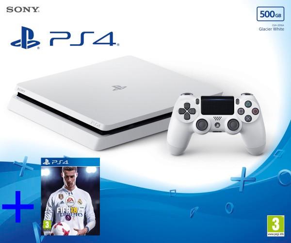 Sony PlayStation 4 - 500GB Slim Glasier Λευκό + FIFA 18