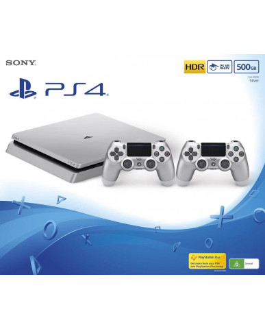 Sony PlayStation 4 - 500GB Slim Silver & 2 Χειριστήρια DualShock 4