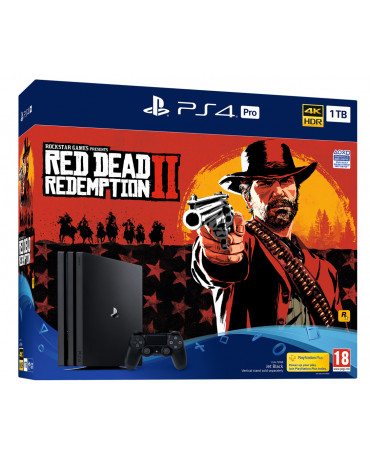 SONY PLAYSTATION 4 PRO - 1TB SLIM BLACK + RED DEAD REDEMPTION 2