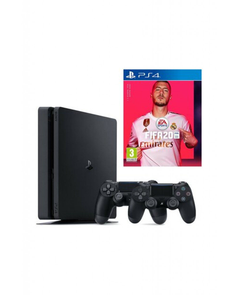 Sony PlayStation 4 - 500GB Slim + Fifa 20 + 2 ΧΕΙΡΙΣΤΗΡΙΑ DUALSHOCK 4 + VOUCHER CODE + Δώρο Playstation Plus 14 Days